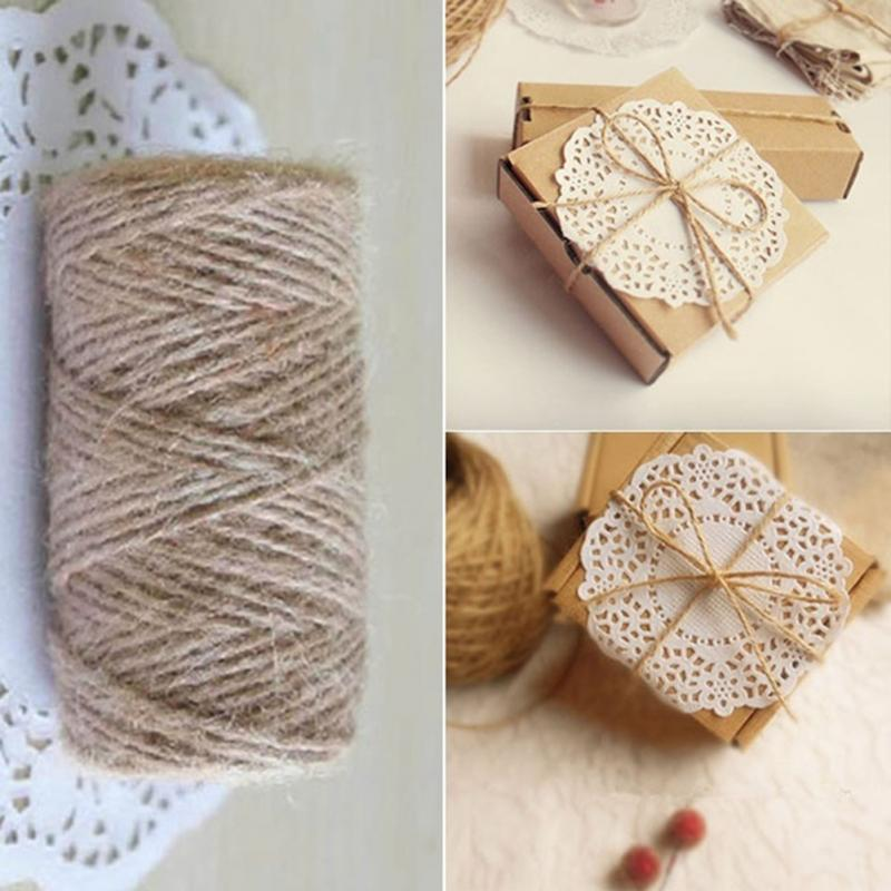 Jute twine 33m natural sisal rope 2mm rustic tags wrap for Sisal decoration