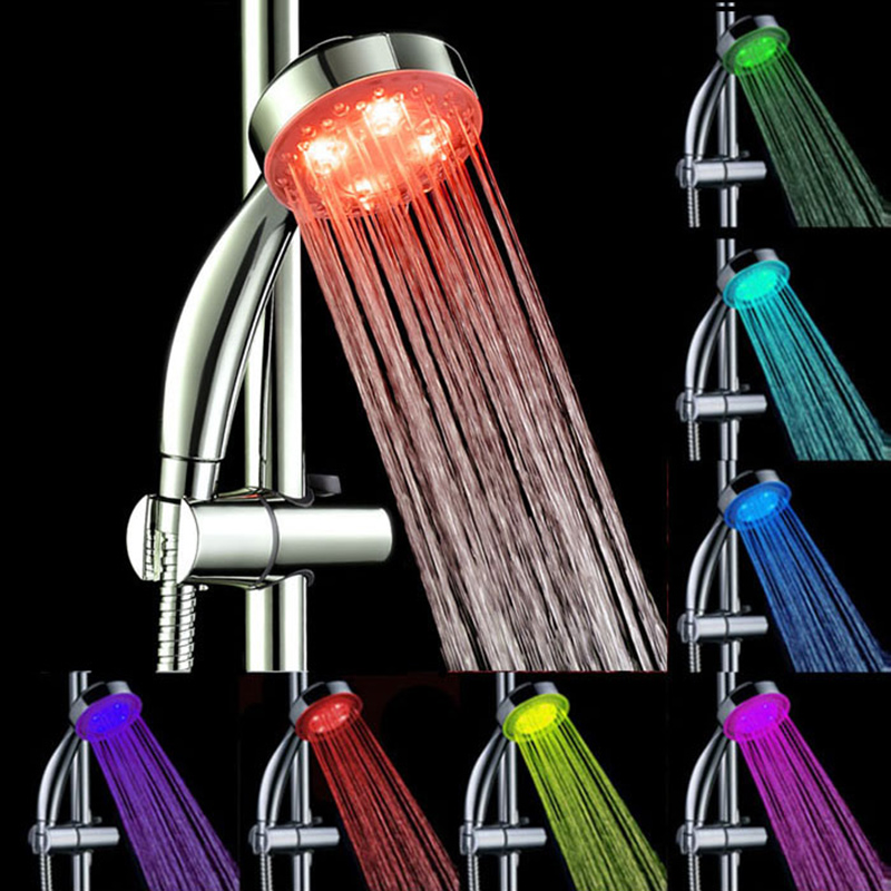 7color change led shower head romantic light water bathroom waterfall shower bath sprinkler bath showering system replacement