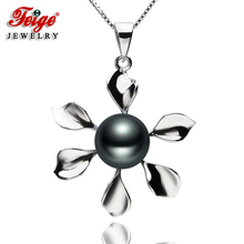 The New Design Flower-shaped 100% 925 Silver Pendant Necklaces 8-9mm Black Freshwater Pearls Womens Fine Pearl Jewelry