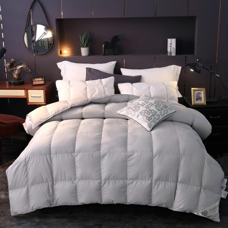 100% Goose Down Comforter White Gray Queen King Sz Bedding Set