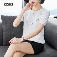 XJXKS Vintage New 2019 Summer Tops Young Women T shirt Femme Thin Loose Embroidery Knitting Comfortable Young Women T shirt Tops