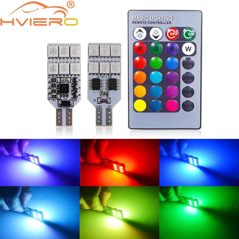 2X T10 RGB višebojna promjena žarulje LED šarene unutrašnjosti - Svjetla automobila - Foto 1