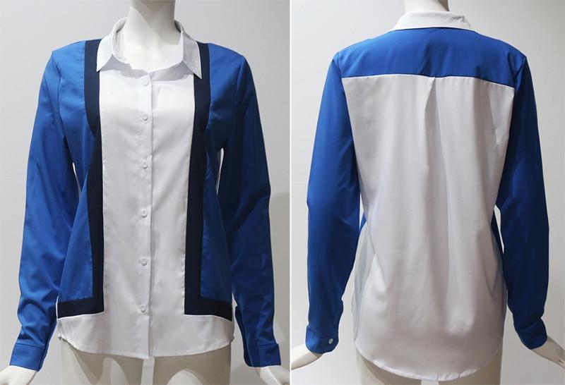 Women Blouses Fashion Long Sleeve Turn Down Collar Office Shirt Leisure Blouse Shirt Casual Tops 47