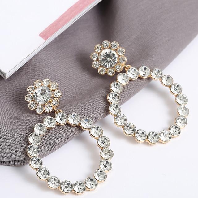 Trendy Crystal Round Pendant Pearl Drop Earrings For Women 4