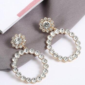 AENSOA Trendy Crystal Round Pendant Drop Earrings For Women Fashion Pearl Charm Statement Jewelry Wedding Earrings Female 2019 4