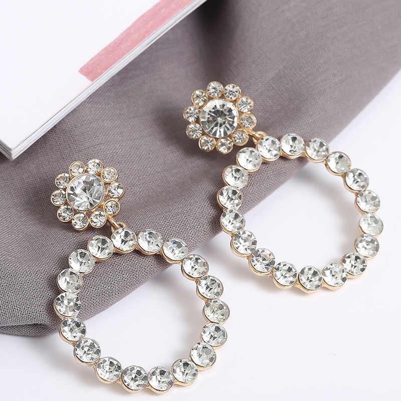 AENSOA Trendy Crystal Round Pendant Drop Earrings For Women Fashion Pearl Charm Statement Jewelry Wedding Earrings Female 2019