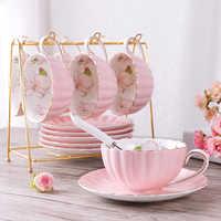 British Style High-Grade Bone China Coffee Cup Pastoral Afternoon Tea Ceramic Tea Black Tea Cup Dish Spoon Pumpkin Cup Pink Roma