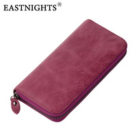 EASTNIGHTS New Women Wallets Brand Design High Quality Genuine Leather Wallet Female Zipper Fashion Long Purse
