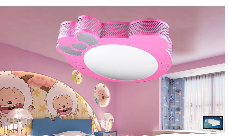 New Cute Hello Kitty Led Ceiling Light Lamp For Simple Creative Cartoon Boys Girls Bedroom Ceiling Lights Children Reading Room