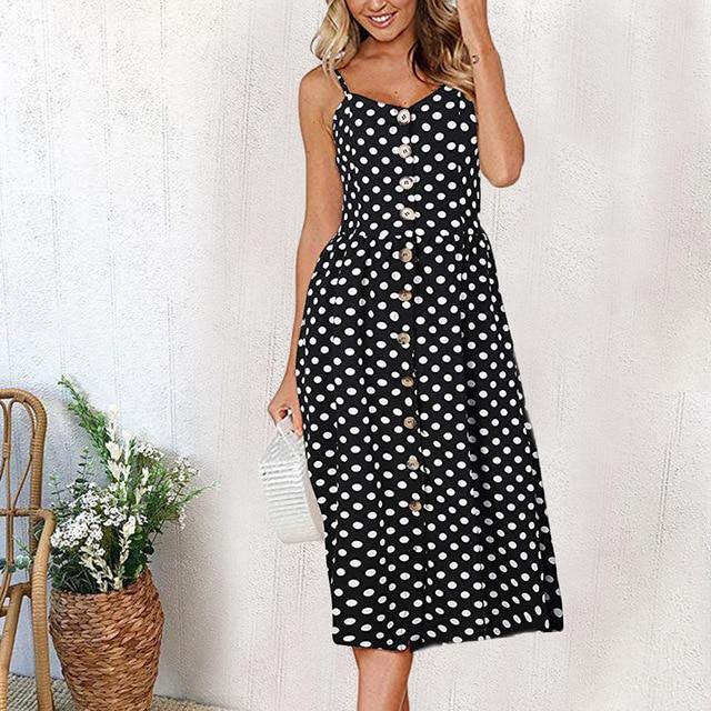 Casual Vintage Sundress Women Summer Dress 2019 Boho Sexy Dress Midi Button Backless Polka Dot Striped Floral Beach Dress Female 5