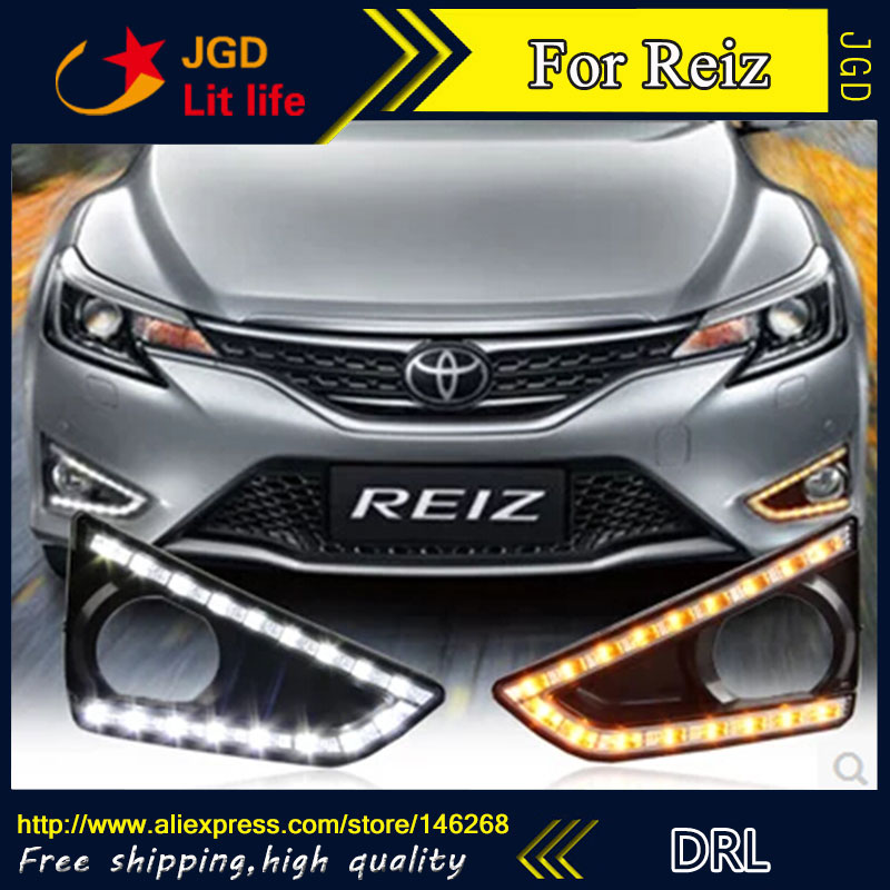 Free shipping ! 12V 6000k LED DRL Daytime running light for Toyota Reiz 2013 2014 fog lamp frame Fog light Car styling