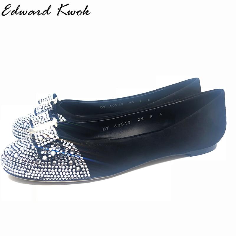 2018 New Genuine Leather Women Bow Tie And Diamond Designer Flats Shoes DF0312018 New Genuine Leather Women Bow Tie And Diamond Designer Flats Shoes DF031