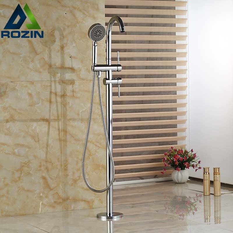 цены на Chrome Freestanding Floor Mount Bath Tub Filler Faucet Spout Single Handle with Handheld Shower Head в интернет-магазинах