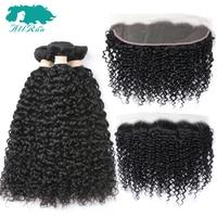 AllRun Brazilian Hair Weave Bundles With Closure 3 Bundles Remy Kinky Curly With Closure Human Hair Bundles With Frontal Closure