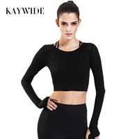 Kaywide 2017 Summer Breathable Long Sleeve Women T Shirts Sporting Fitness Elastic Crop Tops Ladies Hollow