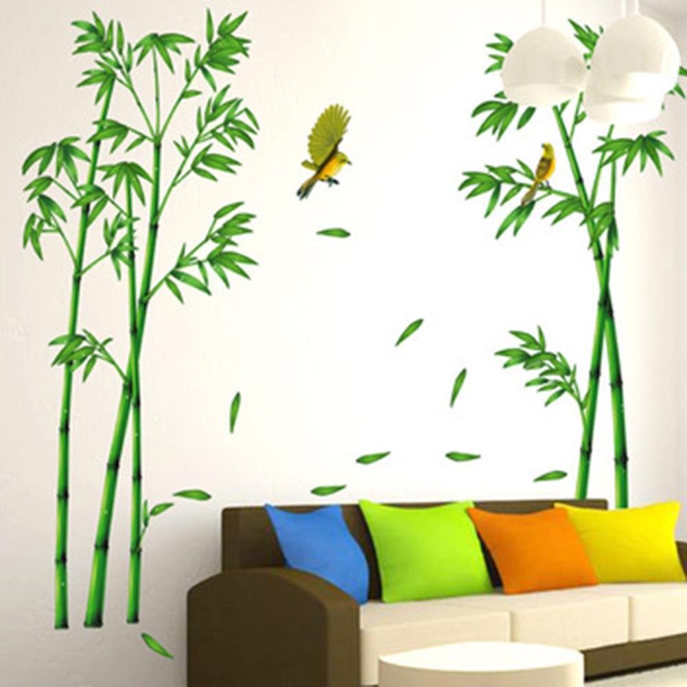 2 piece/set Bamboo Birds Tree DIY Vinyl Wall Stickers Home Decor Kids Rooms Art Decals 3D Wallpaper Decoration Large Size