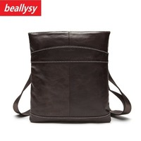 Famous Brand Small Genuine Cowhide Leather Bag Men Bag Male Crossbody Messenger Shoulder Bag Travel Handbags Men's Briefase