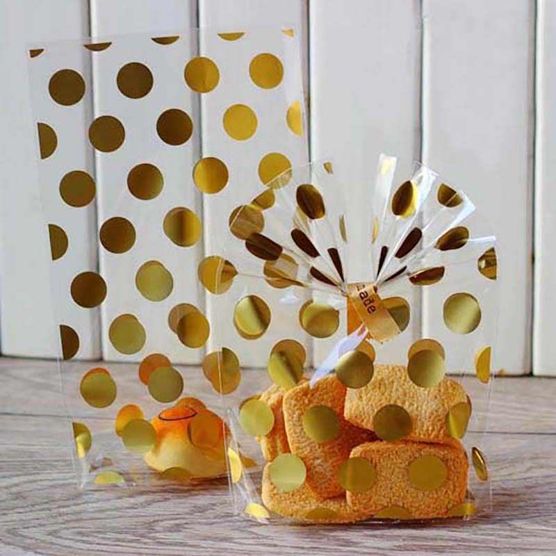 20 cái/bộ Vàng Nóng Chấm bi Cookie Gói Tặng Túi Đựng Kẹo Bao Cưới Sinh Nhật Transparen Cellophane Tặng Túi Đồ Dùng