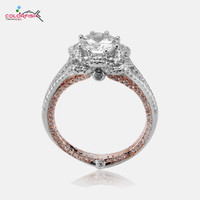 COLORFISH Solid 925 Sterling Silver Rose Gold Filled Two Tone Engagement Ring 2ct Round Zircon For Women Lotus Design Halo Rings