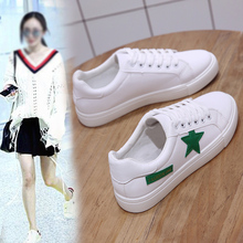 2019 New Spring and Summer With White Shoes Women Flat Leather Canvas Female Board Casual