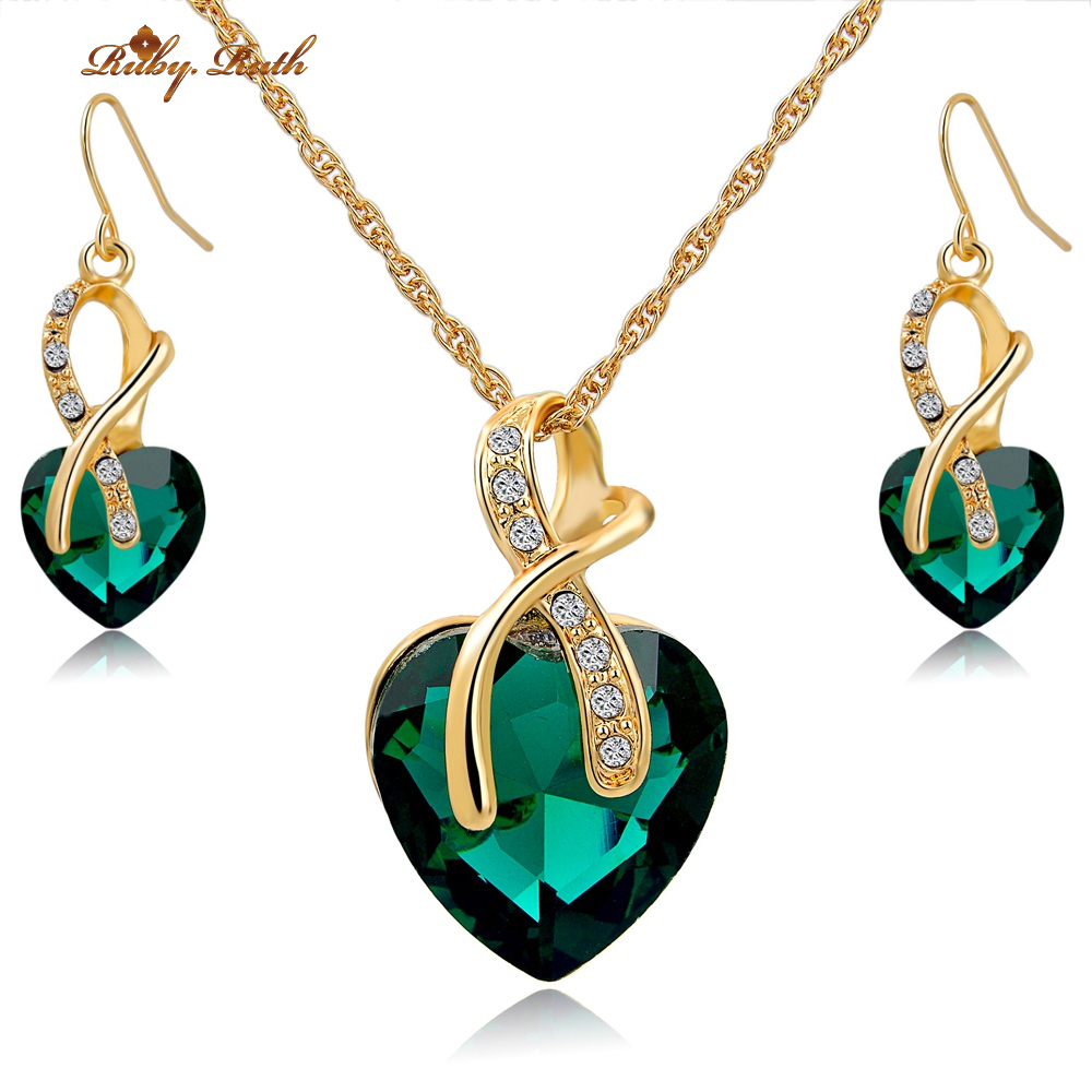 Jewelry sets for women g old color crystal fashion luxury for Decor jewelry