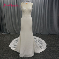 iLoveWedding Elegant Sheath Wedding Dress Spaghetti Straps High Quality Lace Bridal Ourdoor Long Wedding Gown 2018