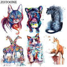 ZOTOONE Ironing Transfers Patches Heat Press Stickers for Families Lovely Fox Dog Animal Patch DIY Appliques Parent-childs E