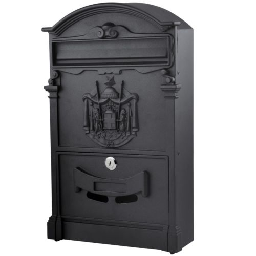 Heavy Duty Black Aluminium Lockable Secure Mail Letter Post Box Letterbox