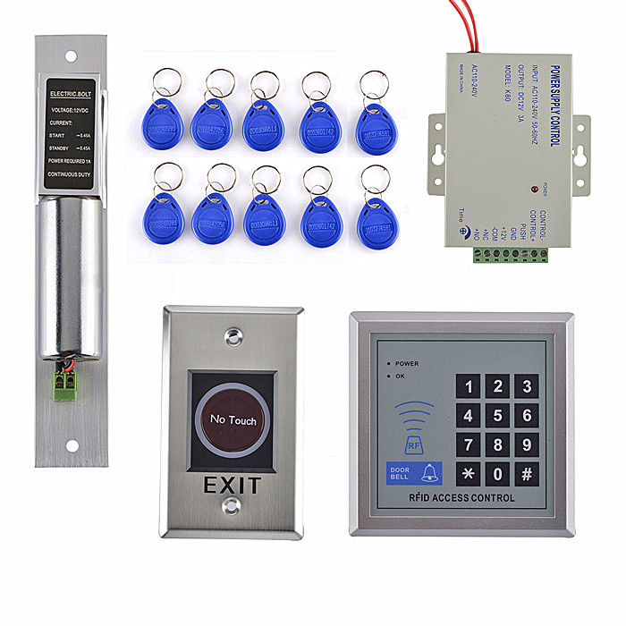 Complete DIY Door Access Control System Kit For Glass Door +Electric Bolt+Power Supply+Metal No Touch Switch animal dolls complete diy kit assorted