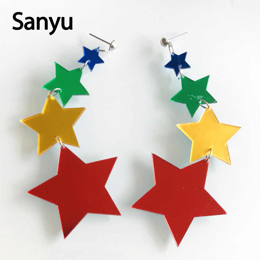 Creative Lovely Long Tassel Colorful Stars Drop Earrings Funny Cute Solid Female Dangle Earrings Fashion Brincos Jewelry 2019