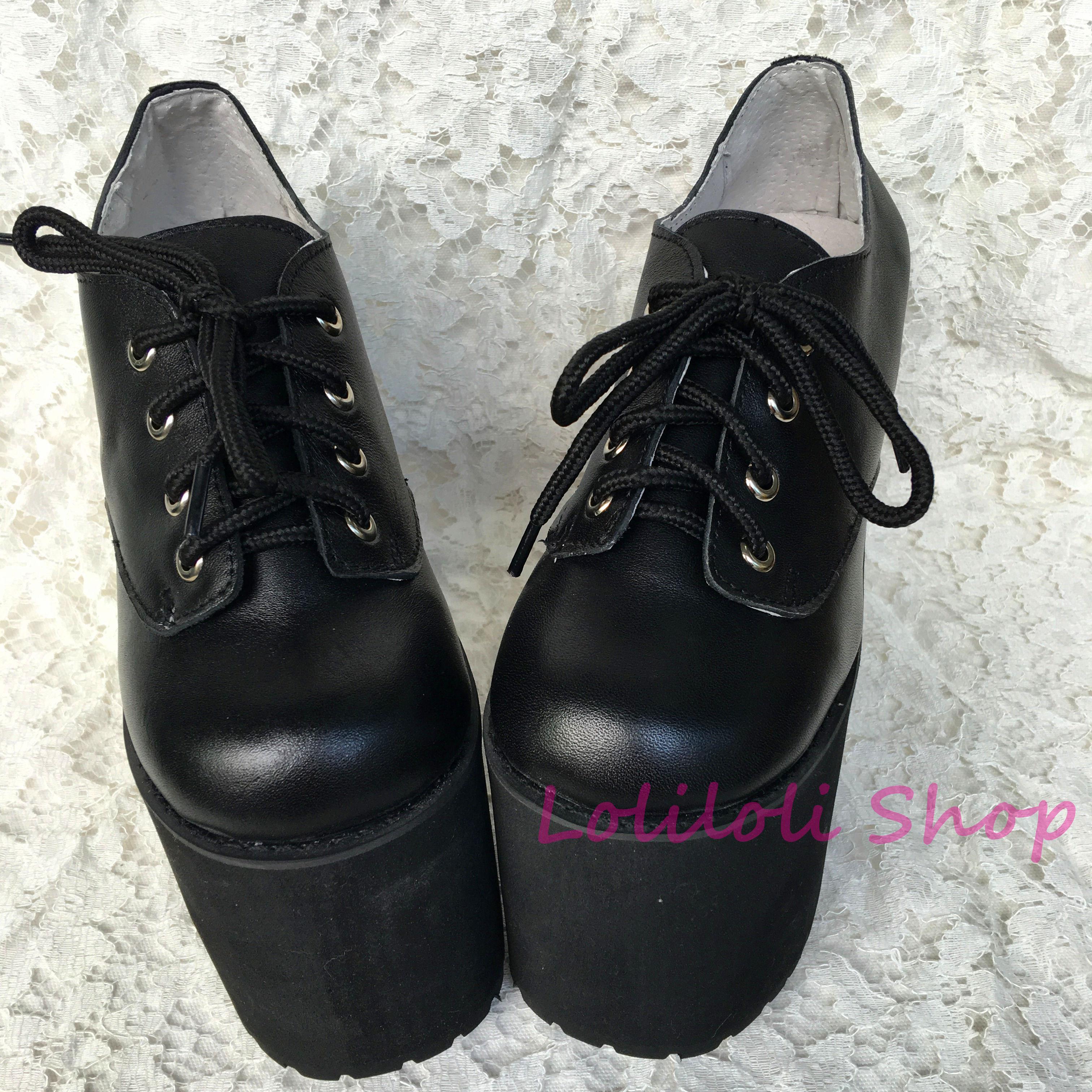 Noir Noir Peau multi Loliloliyoyo 4171 Épais Doux Croix Talon Princesse Chaussures Laçage S Japonais Gothique Antaina Brillant Conception Lolita gSTUwzHqU8