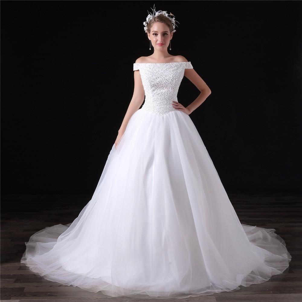 Elegant Princess Wedding Dress 2018 Plus Size Beading Off Shoulder ...