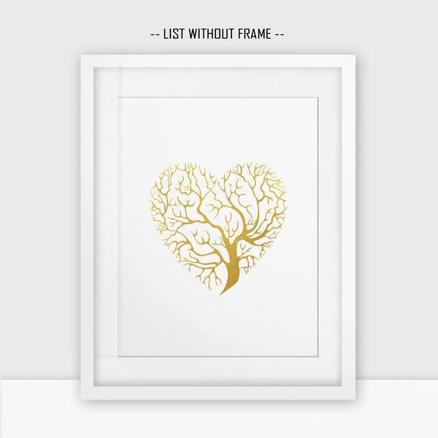 Gold Foil Wall Art aliexpress : buy love hearts gold foil wall print golden tree