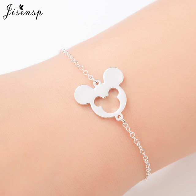 Jisensp Animal Mickey Charm Bracelets & Bangles Women Jewelry Stainless Steel Animal Mouse Cuff Bracelet Birthday bijoux femme