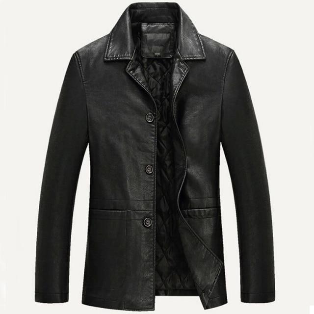 451f36a810 Men Leather Jacket Soft PU Leather Jacket Male Business casual Coats Man  Jaqueta Masculinas Inverno Couro Plus size XXXL 4XL