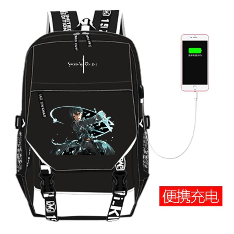 Anime Sword Art Online SAO Canvas Shool Backpack USB Charging Laptop Backpack Kirito Yuuki Asuna COS