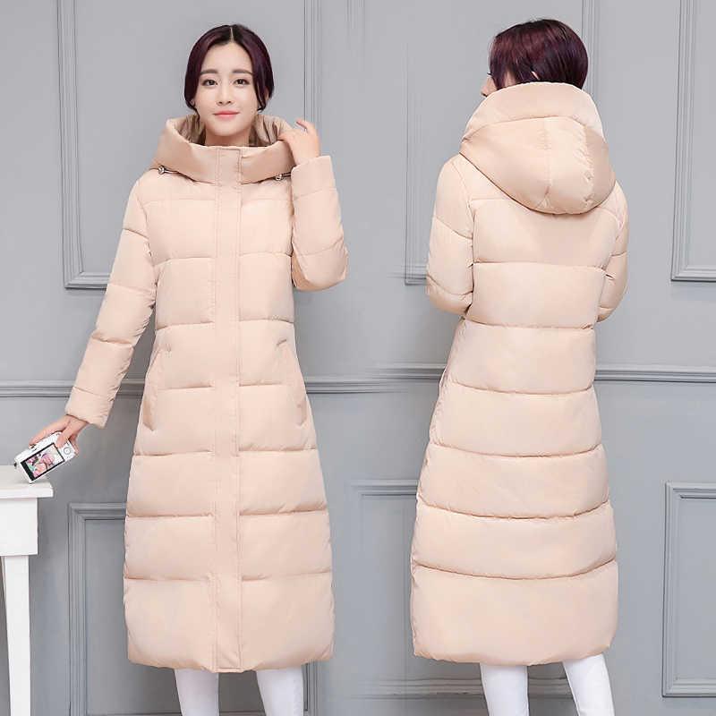 2018 Зимний новый женский пуховик, хлопковая куртка, длинное пальто с капюшоном