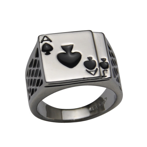 Black Ace Of Spades Ring In Silver