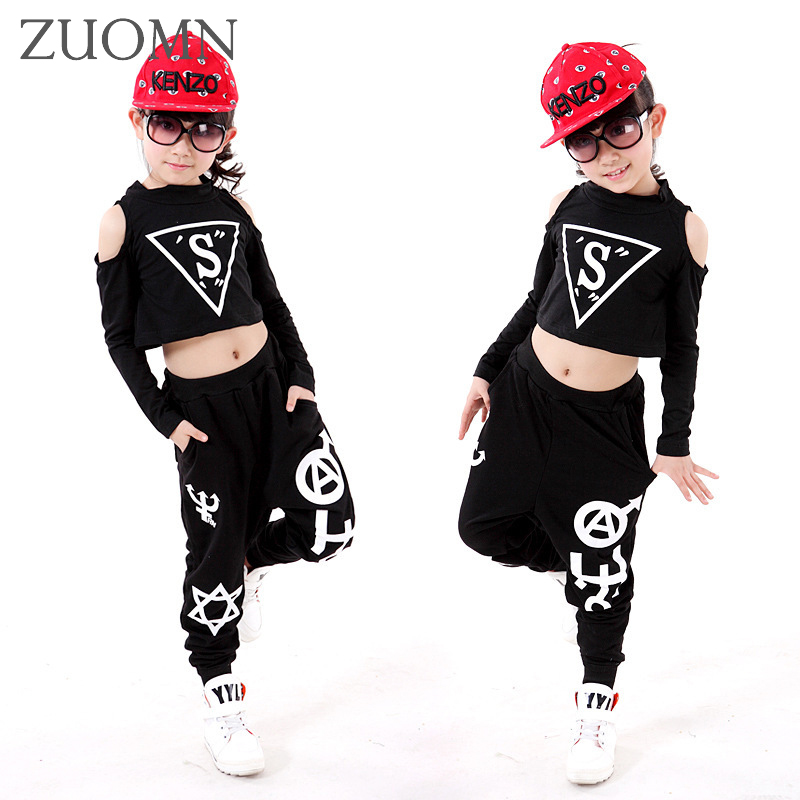 Kids Popping Dance Costume Set Personalized Top + Pants Performance Children Hip Hop Harem Pants Girl Jazz Dance Clothes YL473 new kids dancewear set boys girls sequined stage performance costume modern jazz hip hop dance wear top