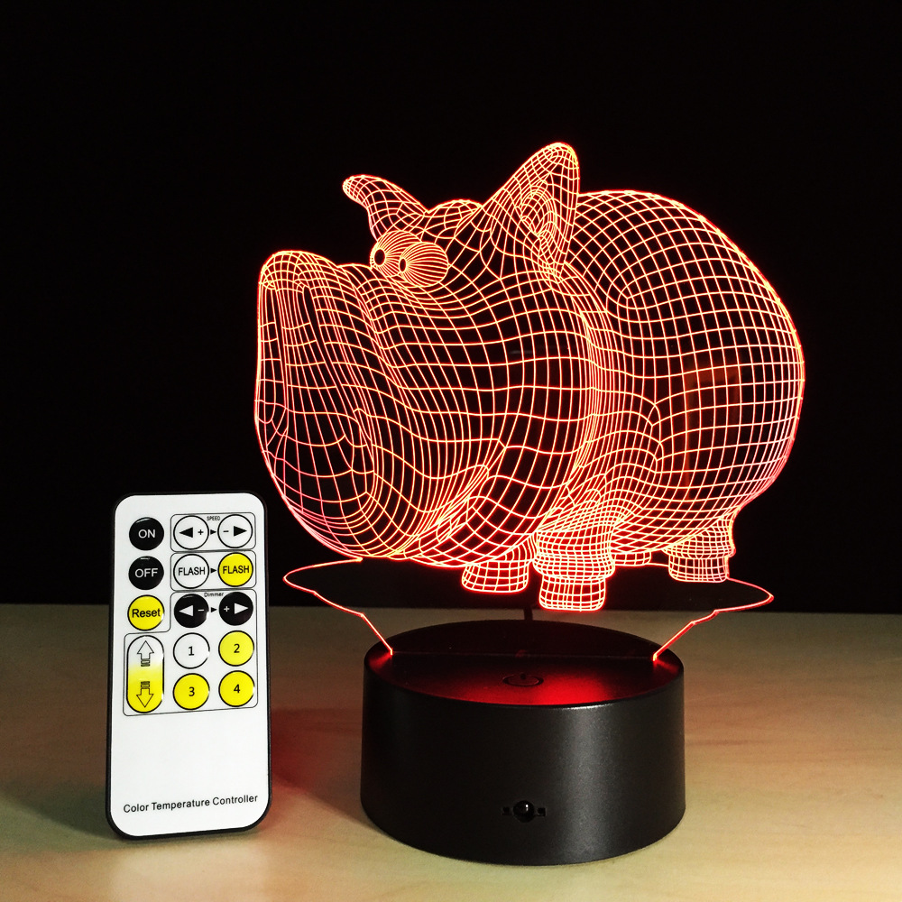 Pig 3D LED Night Light 5V USB Creative Acrylic Table Lamp Children Friends Party Decor Gift Remote Touch Control 7 Colors Lamp