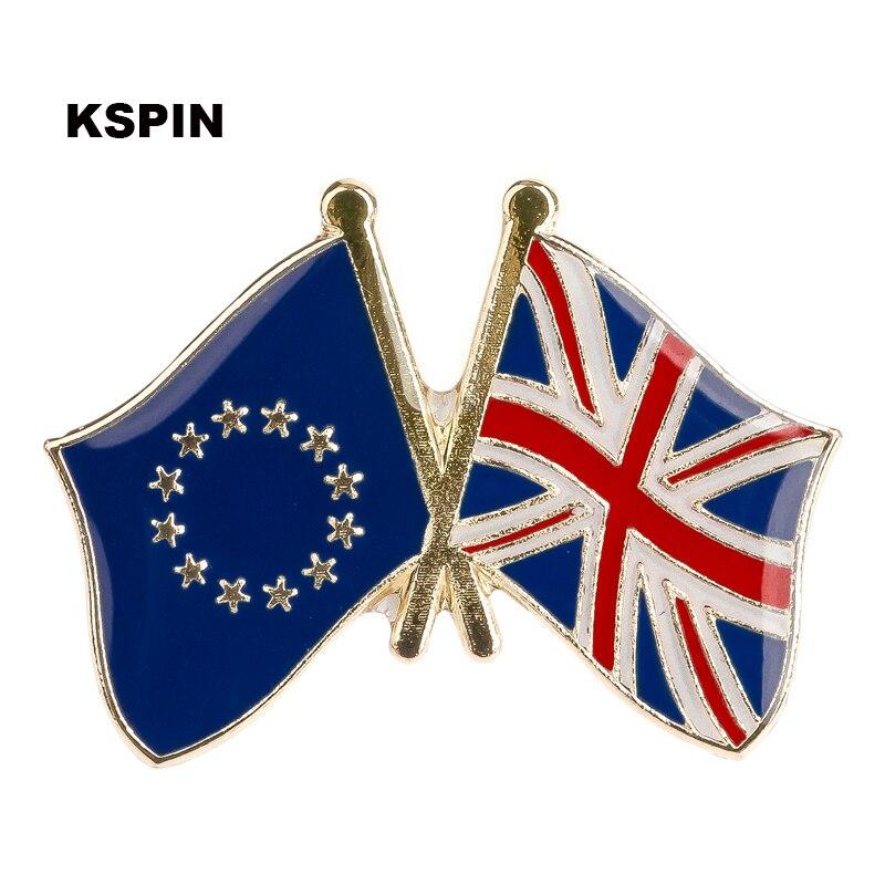European Union United Kingdom Friendship Flag Badge Flag pin 300pcs a lot XY0028