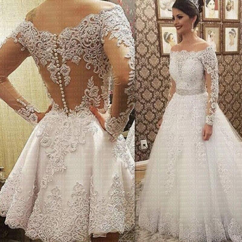 2019 Vestido De Noiva Boat Neck Long Sleeves 2 in 1 Wedding Dress Heavy Pearls Luxury Bride Dress Robe De Mariee Bridal Gowns
