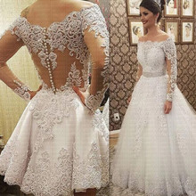 Vestido De Noiva Boothals Lange Mouwen 2 In 1 Trouwjurk 2021 Luxe Bruid Jurk Robe De Mariee Bridal jassen