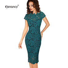 Kenancy Women Lace Party Dress Summer Autumn Elegant Black/Green Sheath Bodycon Pencil Office Evening Pencil Dress With Lining(China)