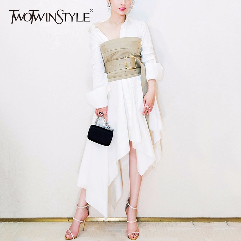 TWOTWINSTYLE Belts Dress Female High Waist Lapel Collar Long Sleeve Asymmetrical Draped Midi Dresses 2019 Fashion