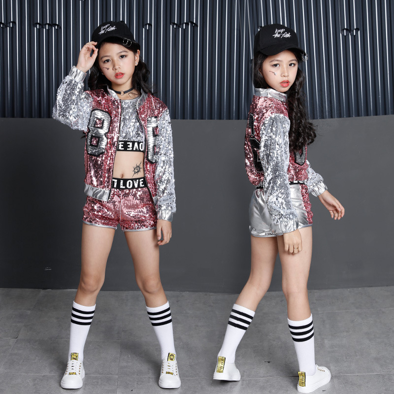 Kids Girl Sequin Dancing Pink Silver Jacket Coat Crop Top Shorts 3pcs Sets Hip-hop Jazz Dance Clothes Children Sets