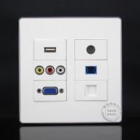 120 120mm 6 Ports RJ45 Cat5e 3RCA AV USB VGA TV SC Fiber Panel Faceplate Outlet