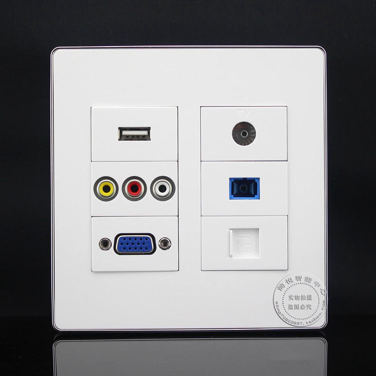 120*120mm 6 Ports RJ45 Cat5e & 3RCA AV & USB & VGA &TV & SC Fiber Panel Faceplate Outlet Home Adapter минипечь gefest пгэ 120 пгэ 120
