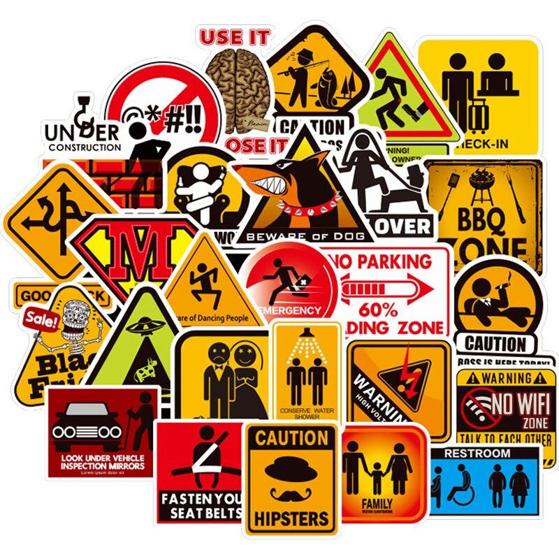 100 Pcs Warning Sign Stickers Danger Signs Reminder Decals Sticker To DIY Laptop Suitcase Guitar Fridge Bicycle Motorcycle Car