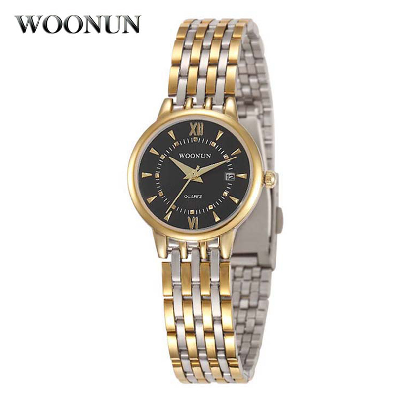 Relogio Feminino WOONUN Top Brand Luxury Gold Watches Women Geneva Stainless Steel Quartz Wrist Watch Fashion Ladies Watch 2017 new fashion brand gold geneva casual quartz watch women crystal silicone watches relogio feminino dress ladies wristwatches hot